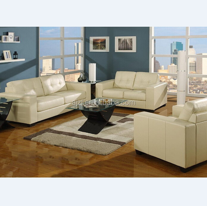 Ivory Bonded Leather Living Room Sofa Set
