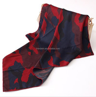 Wholesale Fashionable Square Silk Scarf Stewardess Camouflage Printing Satin Fabric Neckerchief for Lady fashion dress