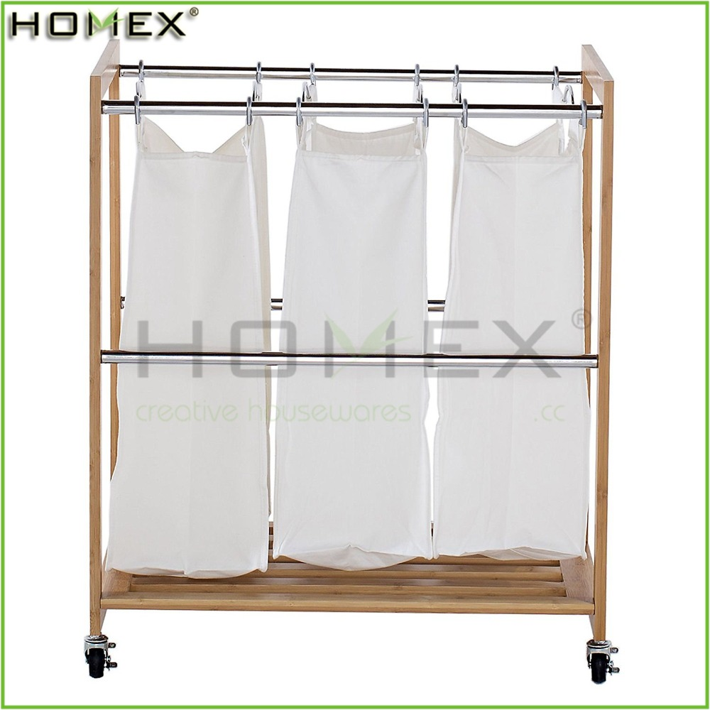 Bathroom Laundry Hamper Storage Bag/Bamboo Laundry Cart/Homex_FSC/BSCI Factory