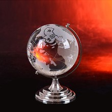 Crystal Glass Globe with Stand, Crystal Globe Centerpiece for Souvenir HJT0041