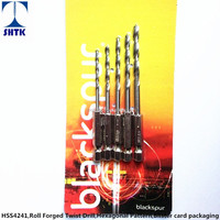 Factory sales directly,5PCS Twist Drill bit Set, HSS 4241 Roll Forged, Hexagonal Pattern, Blister Card Packaging