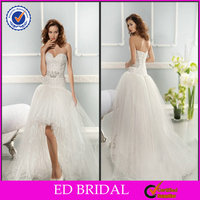 EDW367 Newest Lace Short Front Long Back Puffy Tull Sleeveless Sexy Wedding Night Dresses