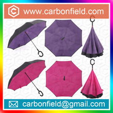 Durable fashion double canopy /layer fiberglass up side down reversible custom design parasol umbrella