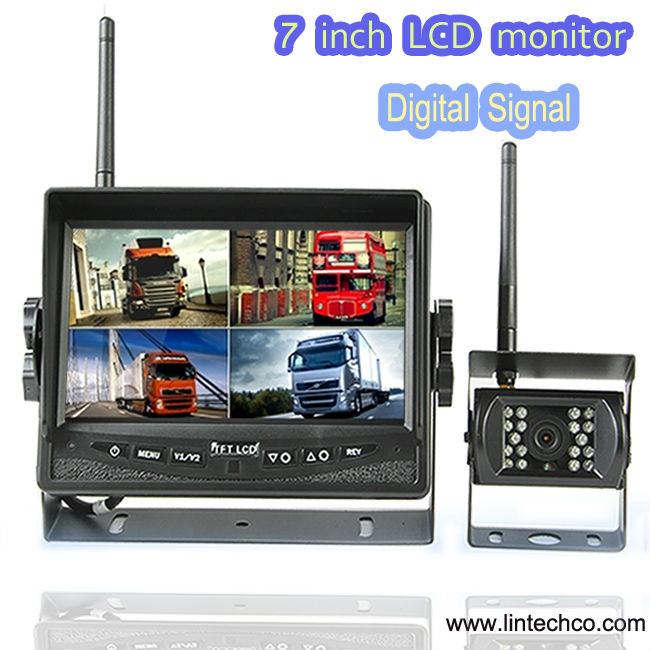 Novel Item!! easy install 7 '' wireless monitor supporting 1-4 video input reversing camera kits for RV