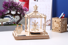Merry-go-round 3D Solar energy puzzle DIY Hand assembling Wooden model jigsaw puzzle toys children 's intellectual toys