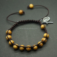 wholesale fashion jewelry yellow wooden beads woven black rope bracelet,rosary bracelet with handmade knots