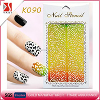 Latest high quality gold nail art stickers hollow nail stencil laser nail vinyls
