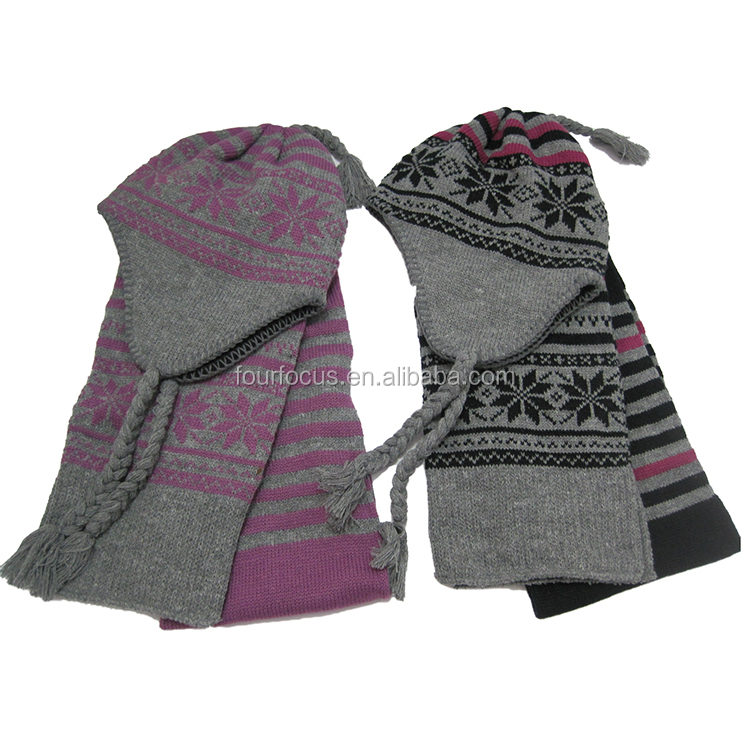 100%acrylic winter Cable Knit Beret Hat Scarf & Glove Set
