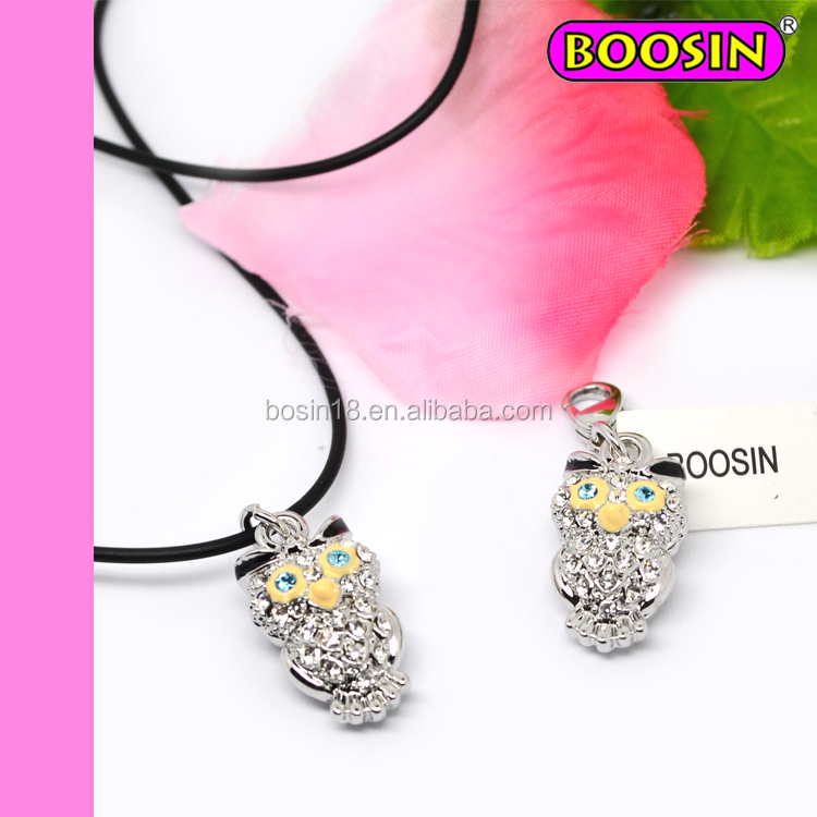 Hot sale cheap alloy jewelry fashion pendant necklace rhinestones cute owl charm animal pendant necklace