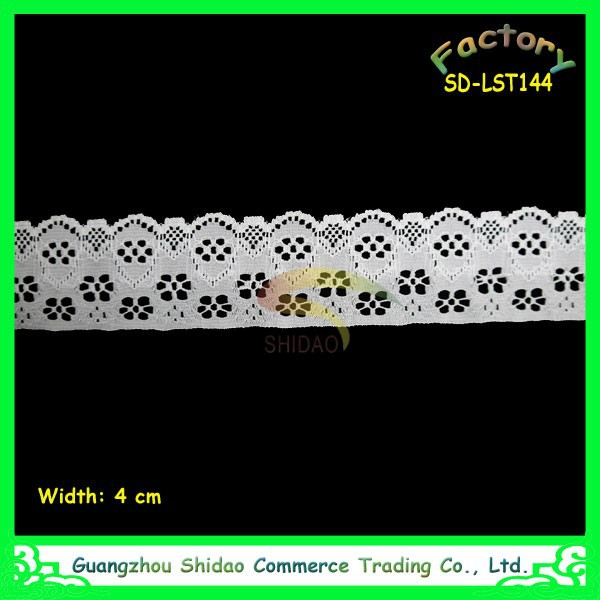 White Ribbon 4cm wide Wedding Bridal Elastic Stretch Lace Trim
