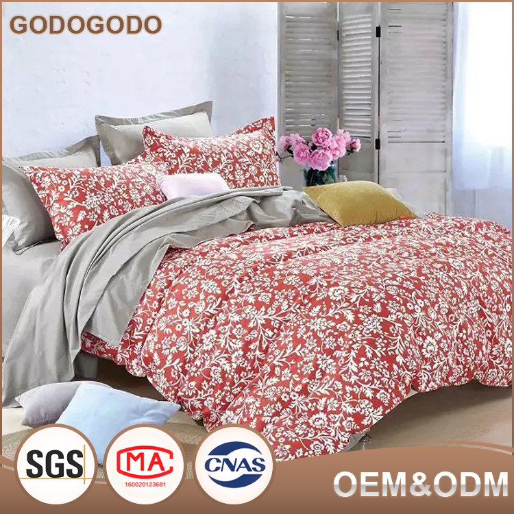 Classic Design Luxury Soft Custom 4Pcs 100% Cotton Wedding Printed Big Flower Bedding Set King Size comforters