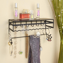 "Black 13.5"" Wall Mount Metal Jewelry & Accessory Rack Organizer for Earrings Bracelets Necklaces Hair Accessories"