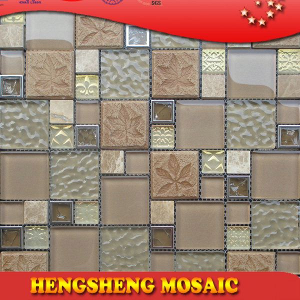 Latest design decoration wall tile floor tile glass mix ceramic mosaic bathroom mosaic sink