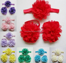 Cute Foot Pearl Flower Barefoot Sandals+Headband Baby Set Solid Color Baby Elastic Hair Bands Infant Kids Headbands