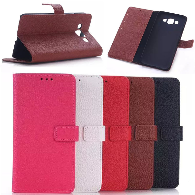 PU leather wallet style cell phone case cover for samsung galaxy e5, slim flip cover smart case for samsung galaxy e5