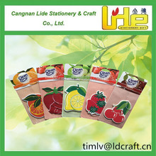 hot selling fruit scents and shape custom design car paper air freshener perfume card with paper header