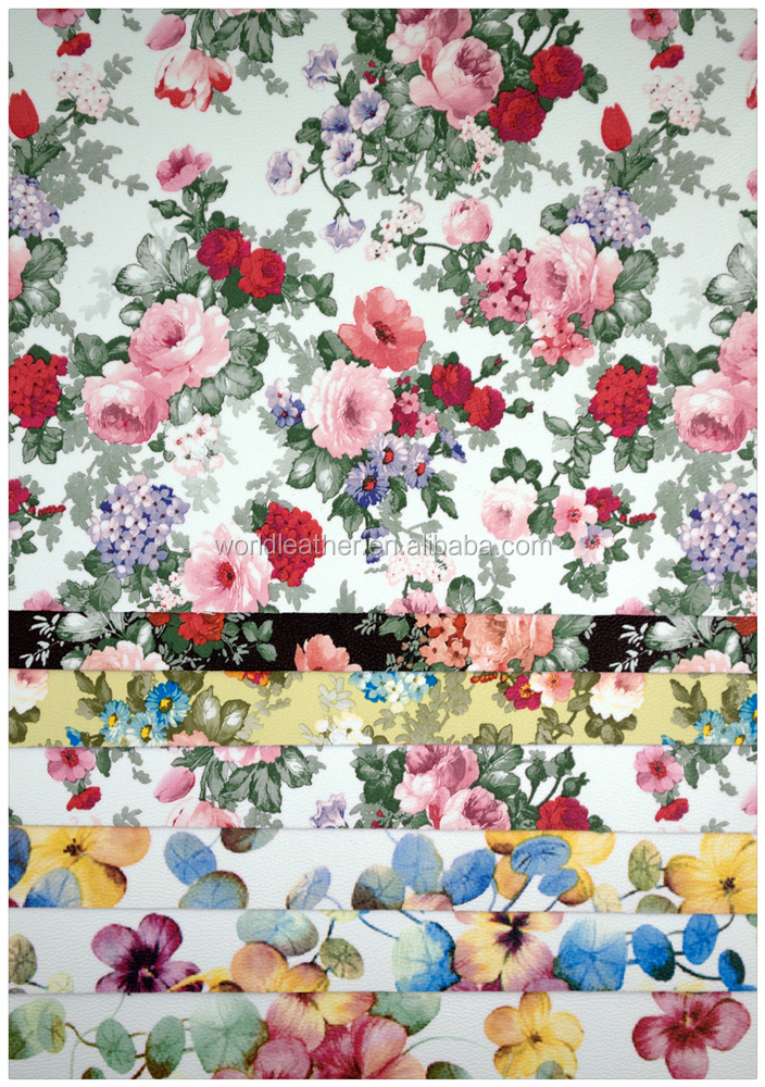 S6033,Small flowers printing pattern 100% pu synthetic leather for bags for shoes