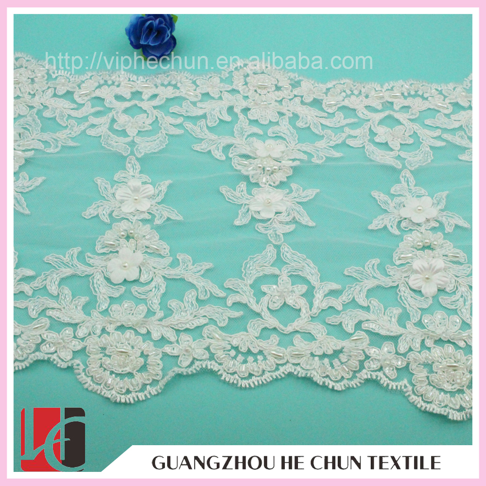 WHB-14P Fashion Cheap Lace Sewig Lace Trim ,White Double Scalloped Lace Trim