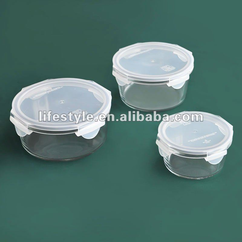 Borosilicate Glass Container with Plastic Cover, Round