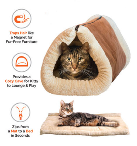 2 in 1 zippered self-heating tunnel cat bed mat