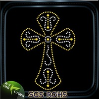 Religious cross hot fix iron on rhinestone transfer