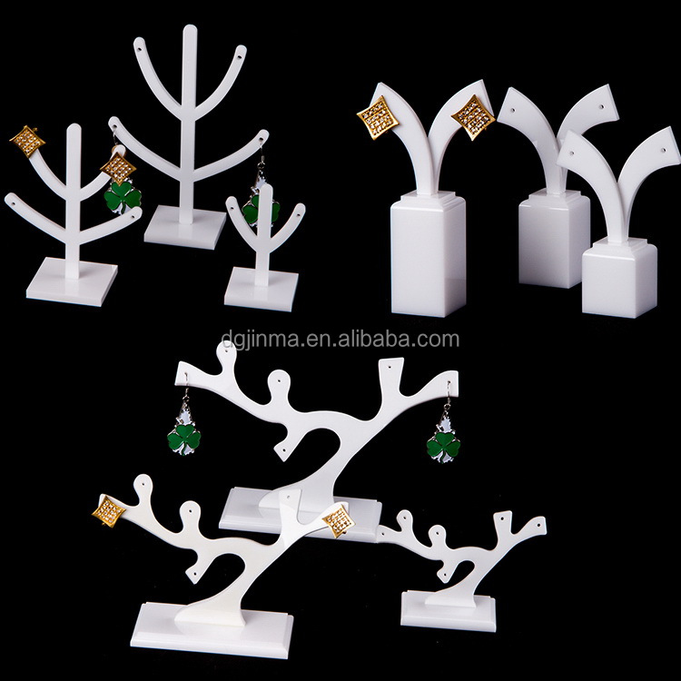 small white acrylic jewelry display stand,plexiglass display for jewellery store