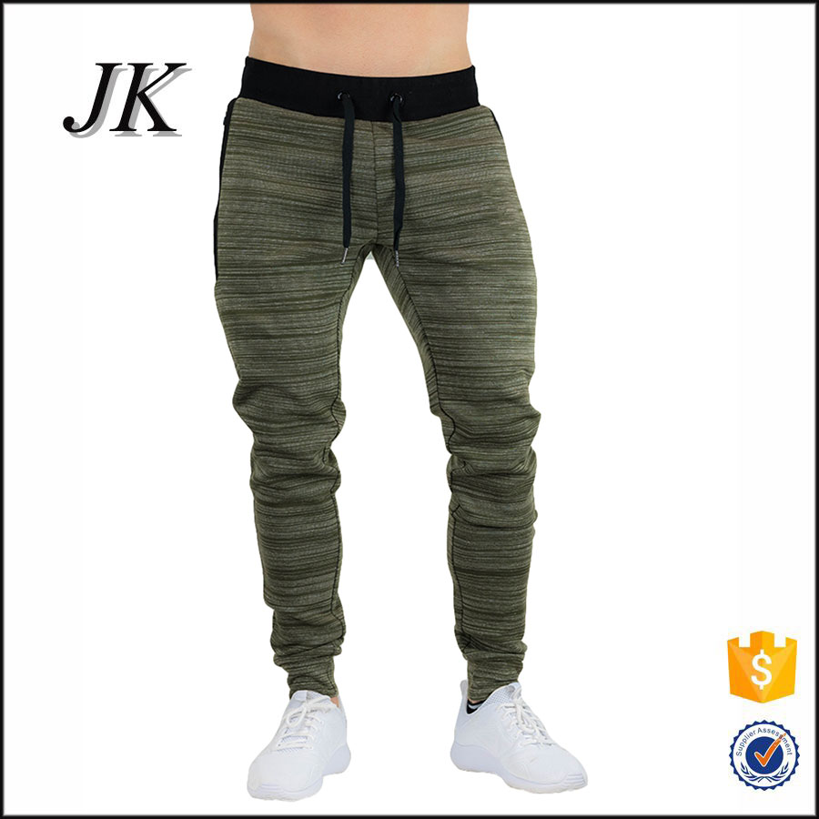 Tight fitted jogger sweatpants with mottled color blank cargo pants