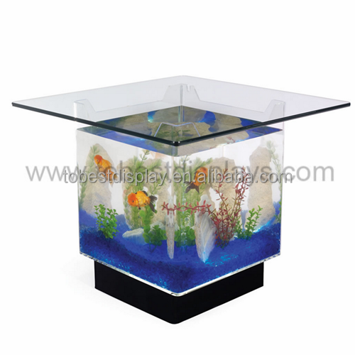Hottest selling acrylic fish tank christmas decorations, coffee table fish tank for sale