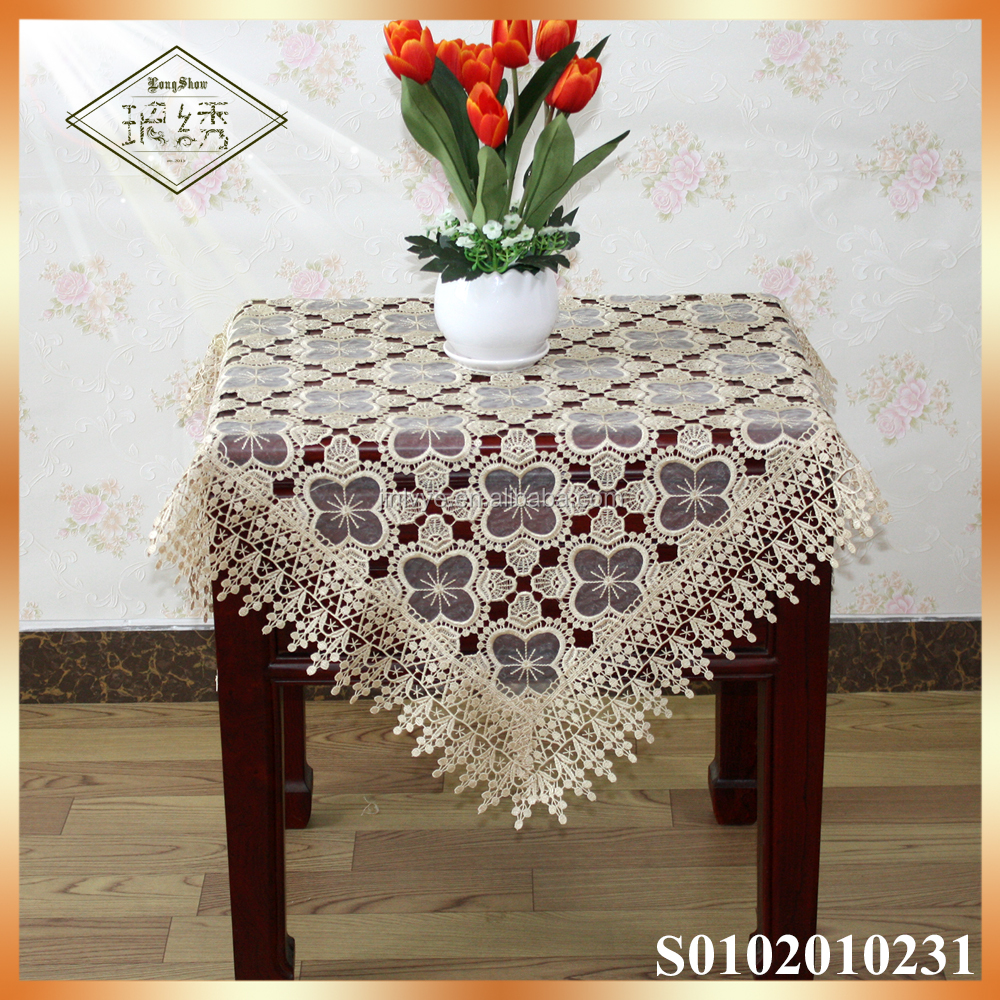 100% polyester machine washable lace embroidery table cover