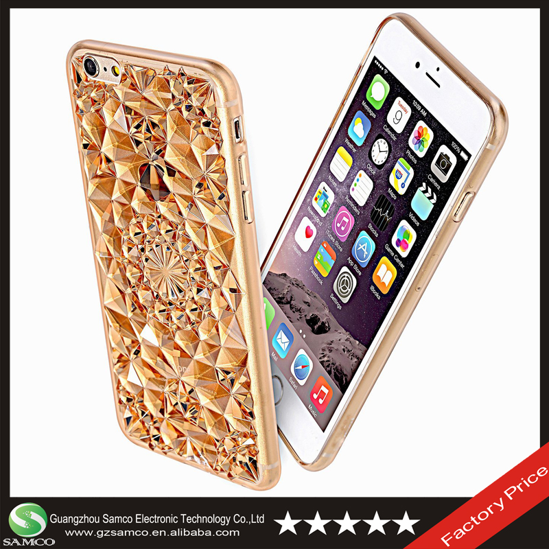 Samco Bling Sparkle Rhinestone Electroplate Plating Frame Crystal Soft TPU Material Back Case Cover for Apple iPhone 6 6S