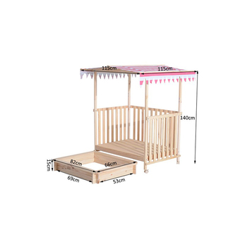 Covered Wooden Kids Sandbox Pit for Play