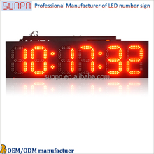 Denmark large scale outdoor led clock /time /date /temperature sign 4 digits 7 segment led large 2 digits led countdown timer
