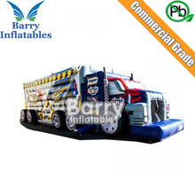 Cheap price high quality custom made bus model inflatable obstacle course for event
