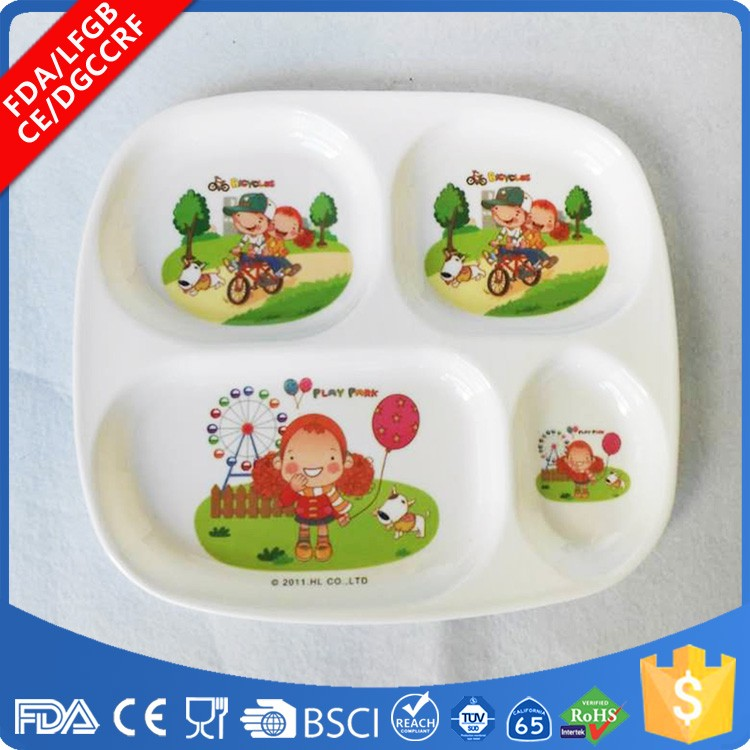 BPA free melamine 4 four compartments plastic divided platter, divided Plate for Babies, Toddlers and Kids custom printed