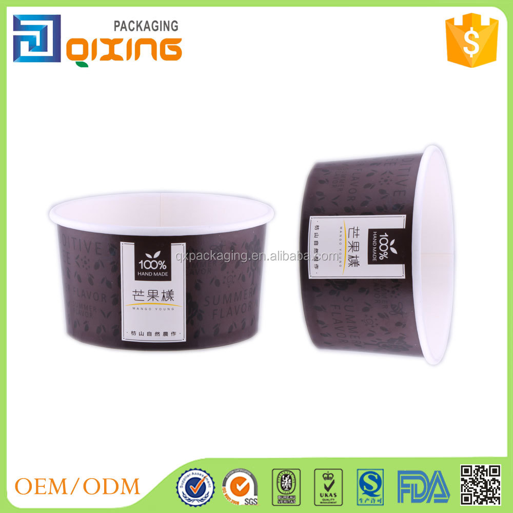 food grade material disposable gelato paper cups with customized logo with ps/pet lid