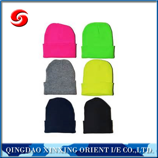 Wholesale colorful fashion acrylic knitted beanie winter hat