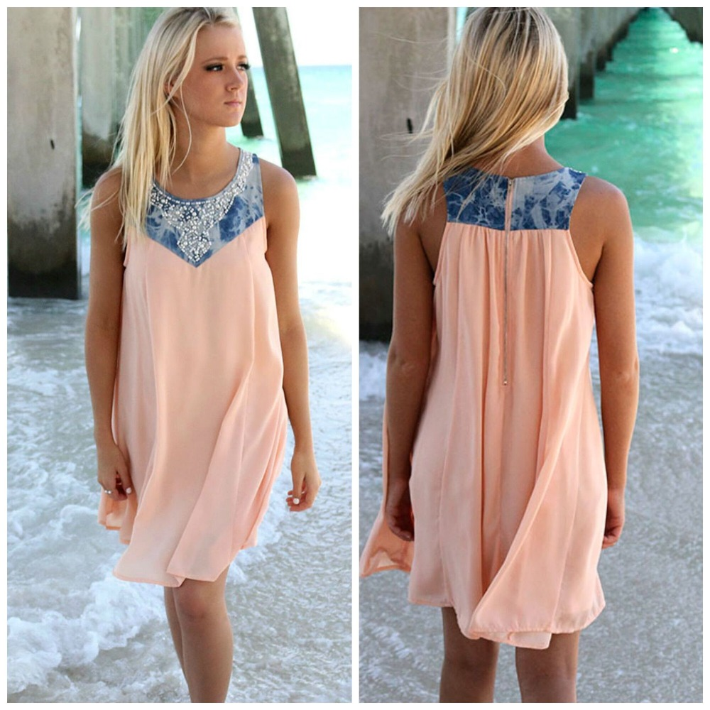 Fashion summer sleeveless chiffon dress hot drilling casual short skirt