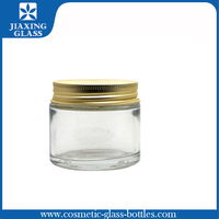 Transparent plastic cosmetic jars ,PET jar with metal screw cap