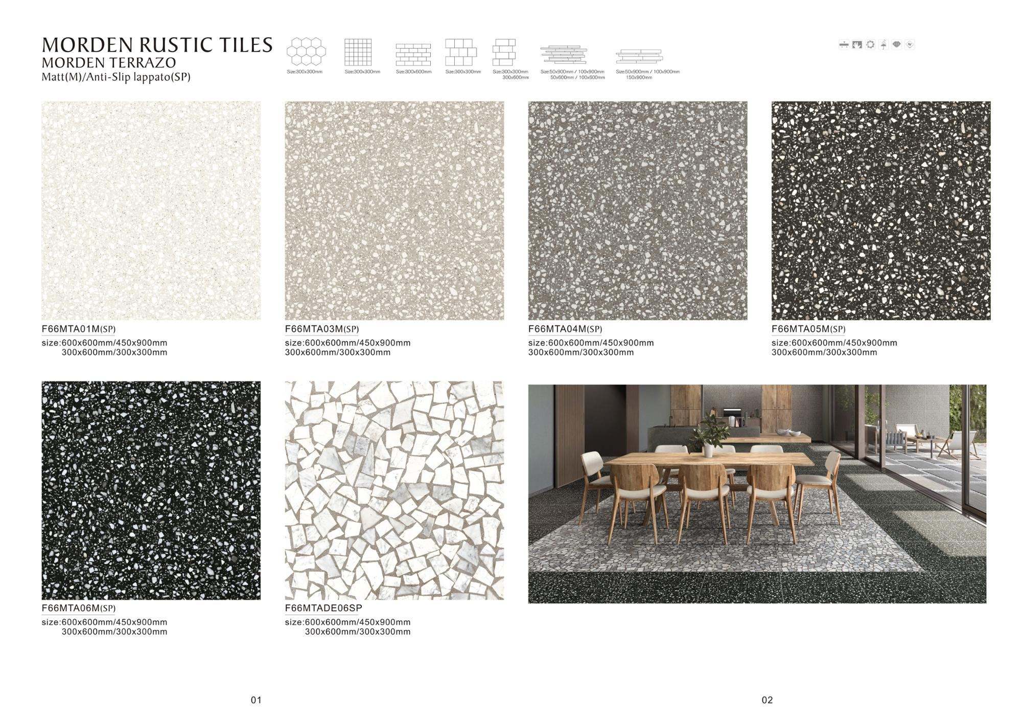 Dark grey glazed ceramic floor tiles terrazo rustic tile FOSHAN