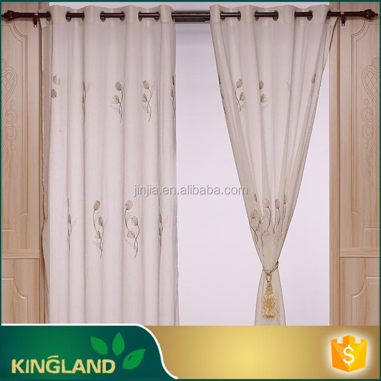 2016 flower style white color linenlook embroidered window curtain