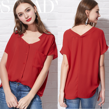 wholesale latest Red lady blouse 2016 new fashion latest fashion long top design