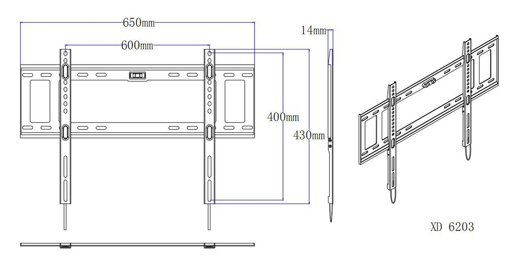 Mounting Dream good quality cheap Fixed Super thin wall mount brackets TV holder fits for 42-70'' LED/OLED/plasma TVs
