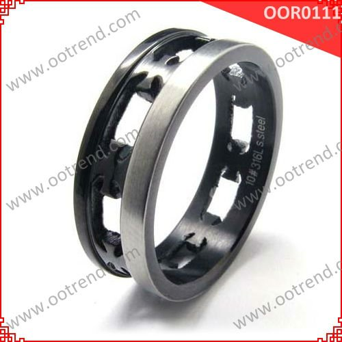 unique design black couple rings made of surgical 316L stainless steel