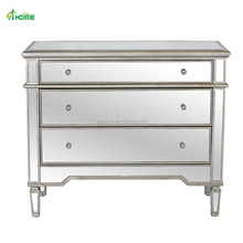 mirrored three drawer chest with antique pewter cast painted wood edges
