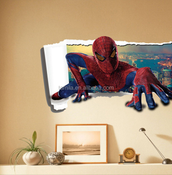 customized free cartoon spiderman vinyl wall removable sticker