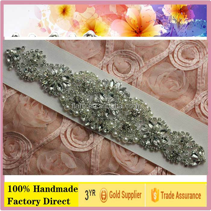 "Handmade Bridal iron on applique blinking embroidery bead rhinestone applique Glass stone Patch for wedding Belt 8.0""L"