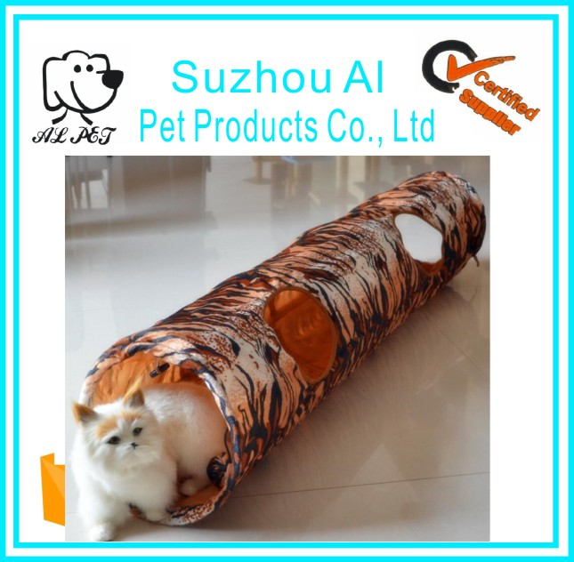 Outdoor Interactive Play Pet Tube Toys Funny Leopard Cat Plush Tunnel