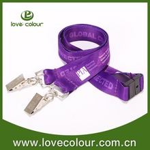 Funny promotional sparkle lanyard with two clip