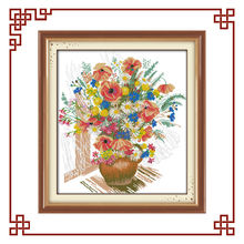NKF Colorful flower vase flower cross stitch embroidery