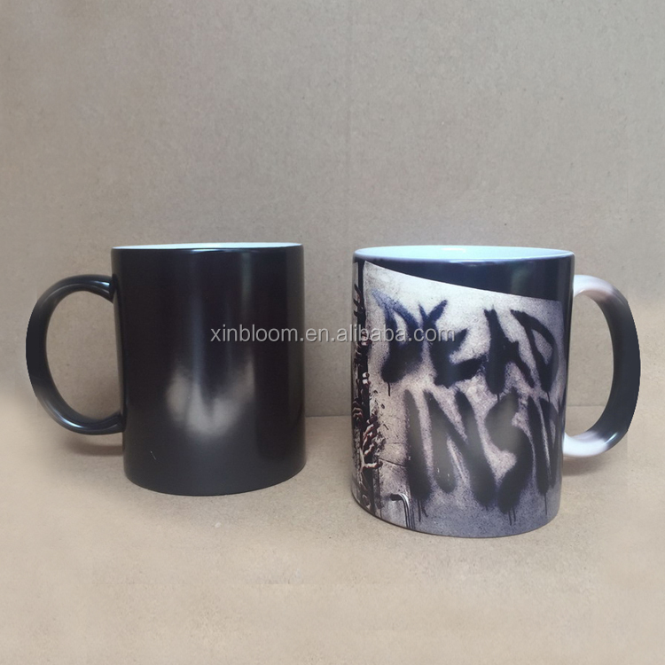 350ml walking dead magic hot sensitive temperature color changing porcelain mug